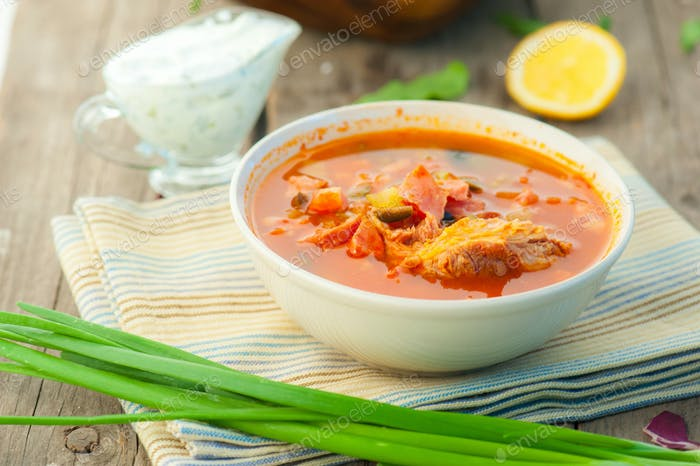soup with meat ant tomato soljanka
