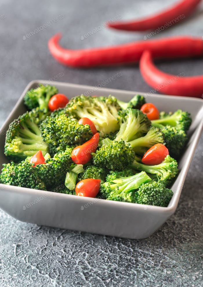 Bowl of broccoli and chili stir-fry