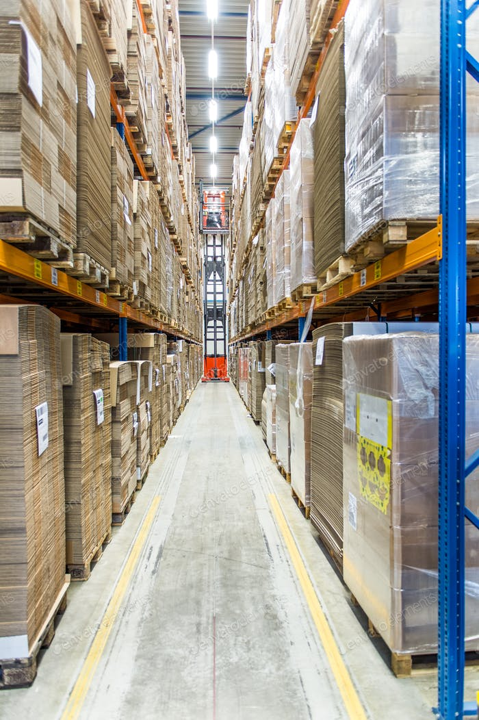 55123,Packed pallets on shelves in warehouse