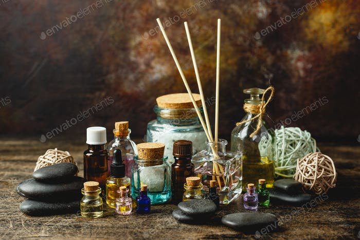 Glass bottles with aroma oil
