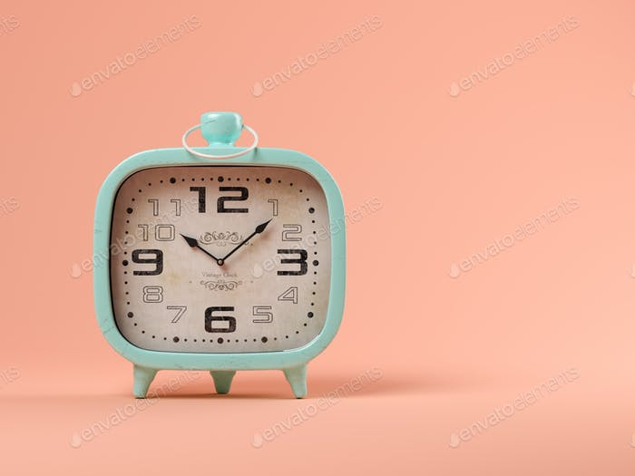 Blue clock on pink background 3D illustration