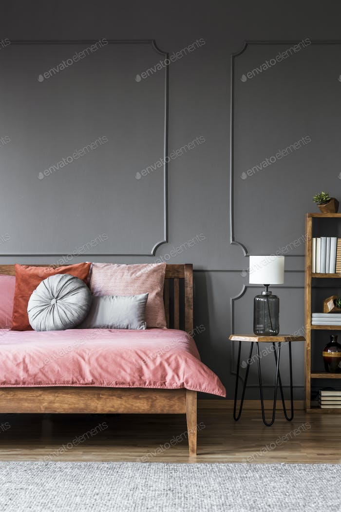 Grey dark bedroom interior