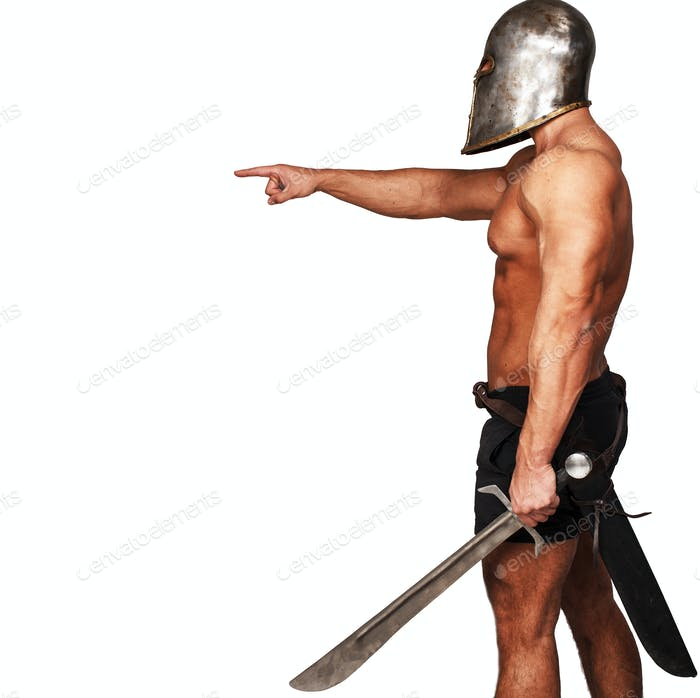 Side view of warrior who is pointing on someone