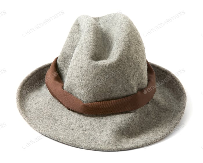Grey felt fedora with brown hatband