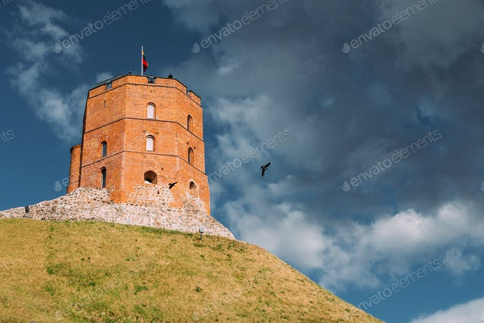 Vilnius, Lithuania. Famous Tower Of Gediminas Or Gedimino In His