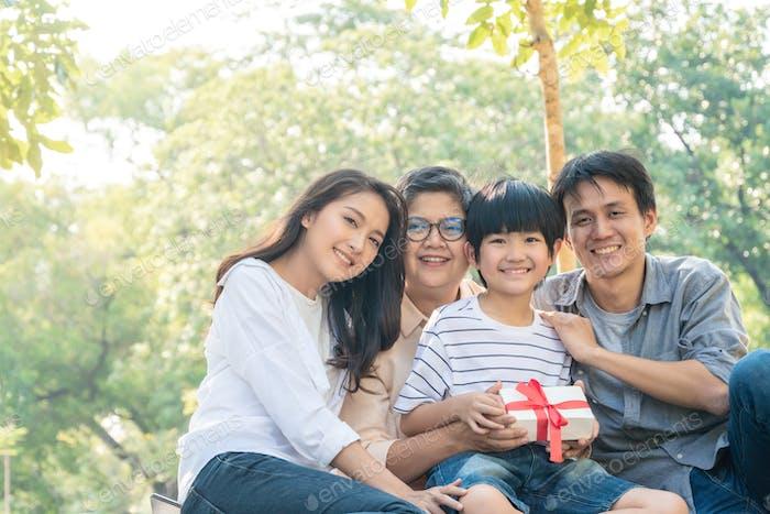 Asian family portrait at park