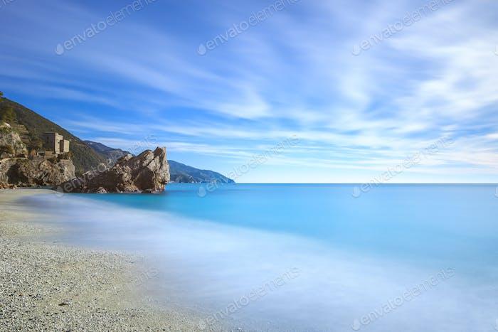 Monterosso beach, rock and sea. Cinque terre, Liguria Italy