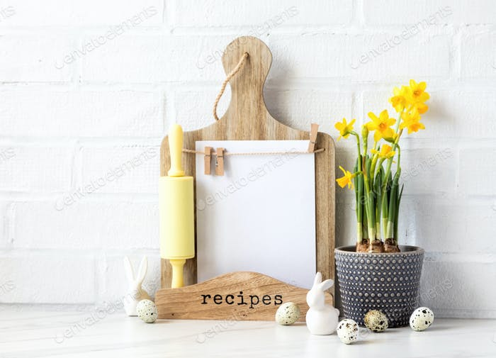Easter Background for baking with ingredients for cooking.Seasonal menu, recipe, spring plan.