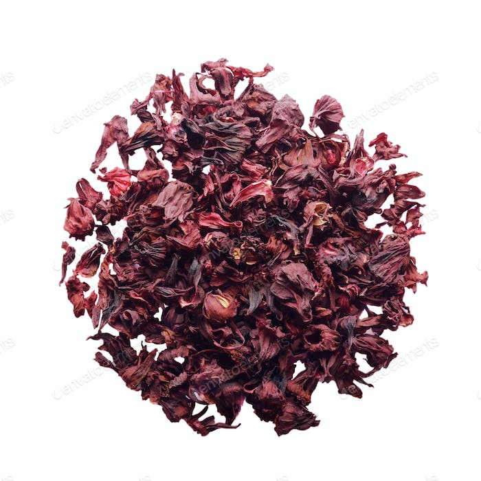 Top view of Dry Hibiscus petals isolated on white background clo