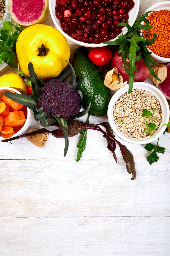 Set of organic healthy diet food, superfoods