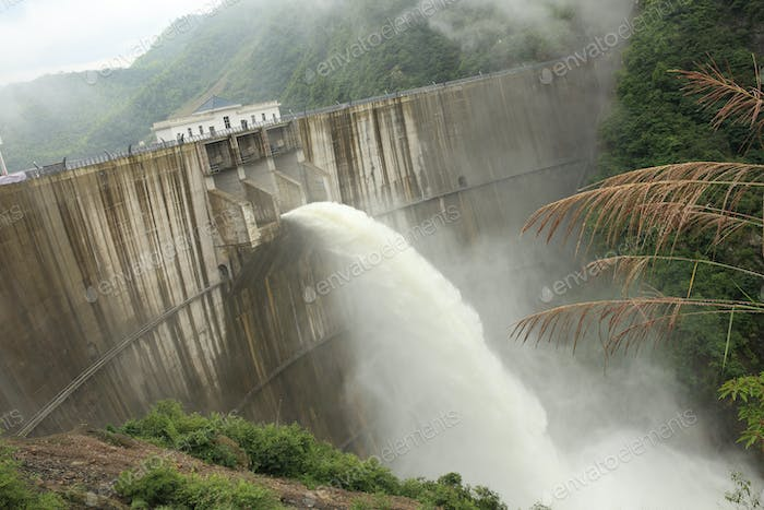 Dam discharge water during summer time
