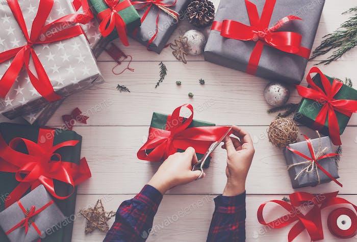 Creative hobby. Wrapping modern handmade christmas present box