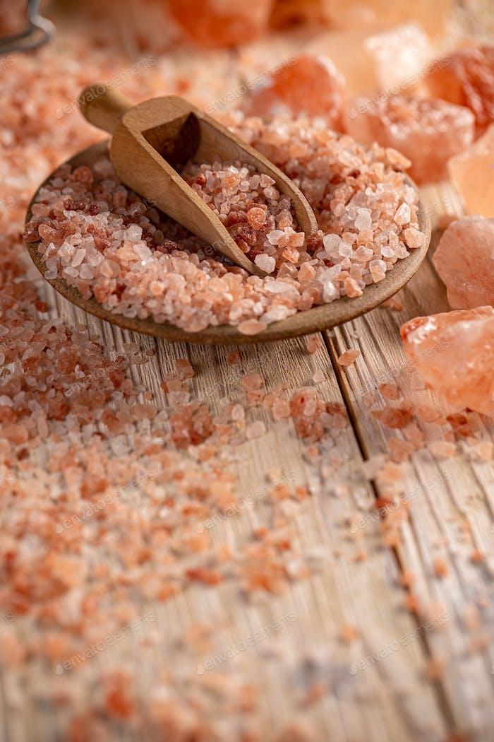 Still life of Himalayan pink salt