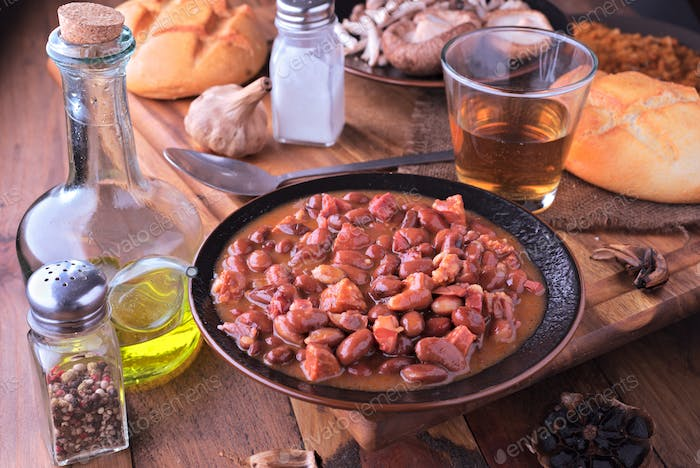 dish of red beans cooked on classic wooden table
