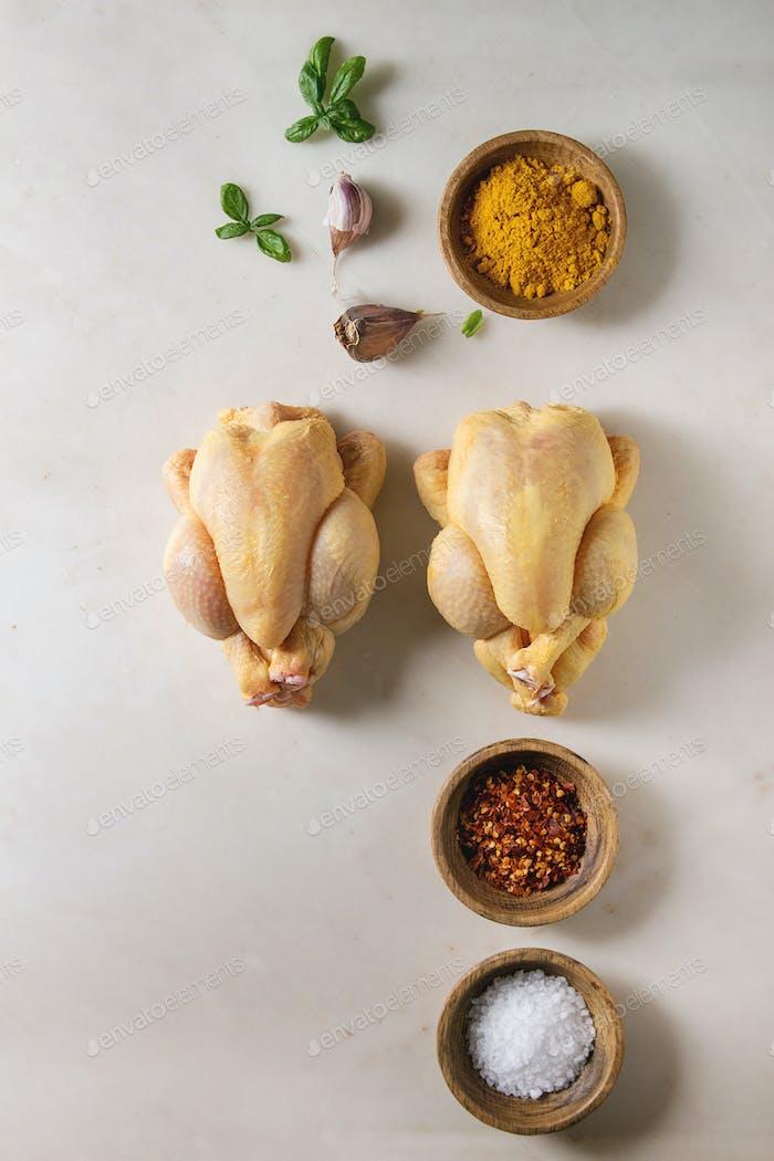 Raw uncooked chicken