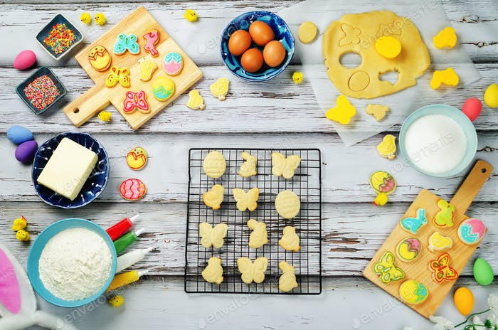 Sugar Easter cookies and ingredients for baking