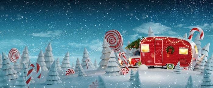 Camper rojo de Navidad de Papá Noel