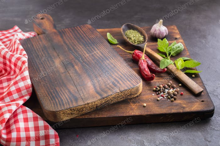 Cutting board and Spices.