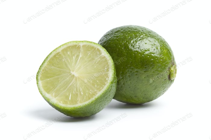 Whole and a half fresh lime