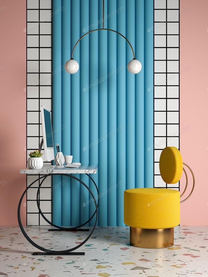 Memphis style conceptual interior Home office 3 d illustration