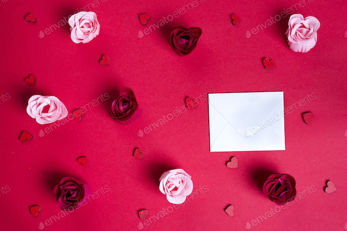 Floral pattern made of buds roses