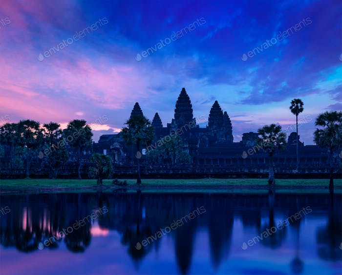 Angkor Wat famous Cambodian landmark on sunrise