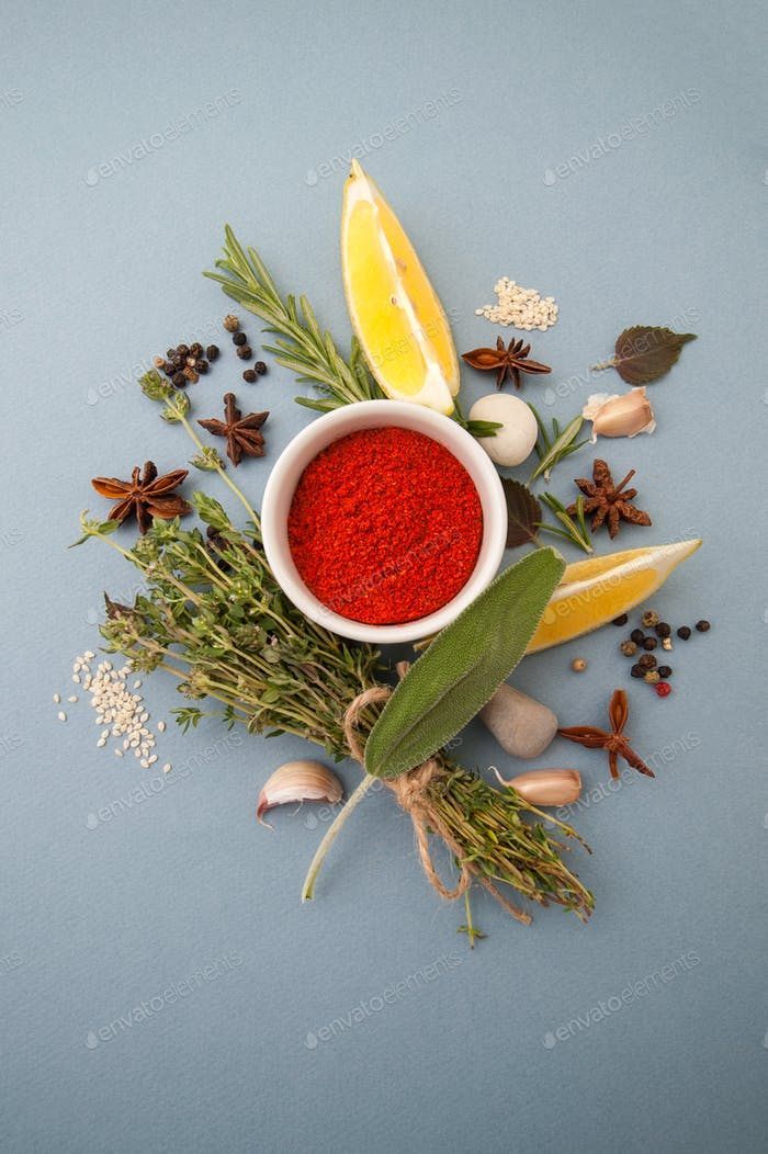 Dried paprika and spicy herbs on a light blue pastel background.