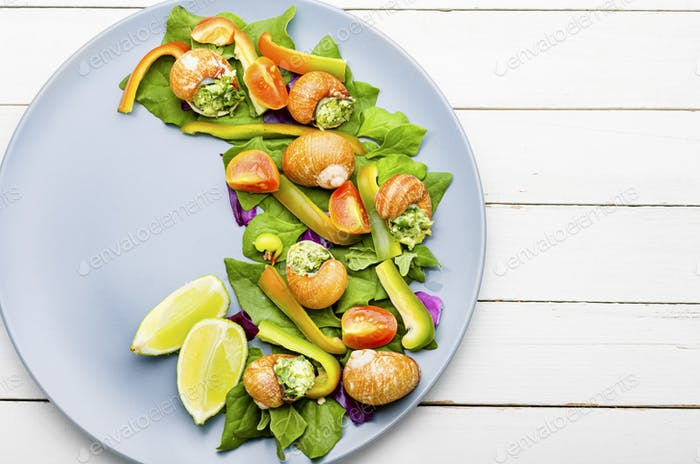 Vegetable salad with clams