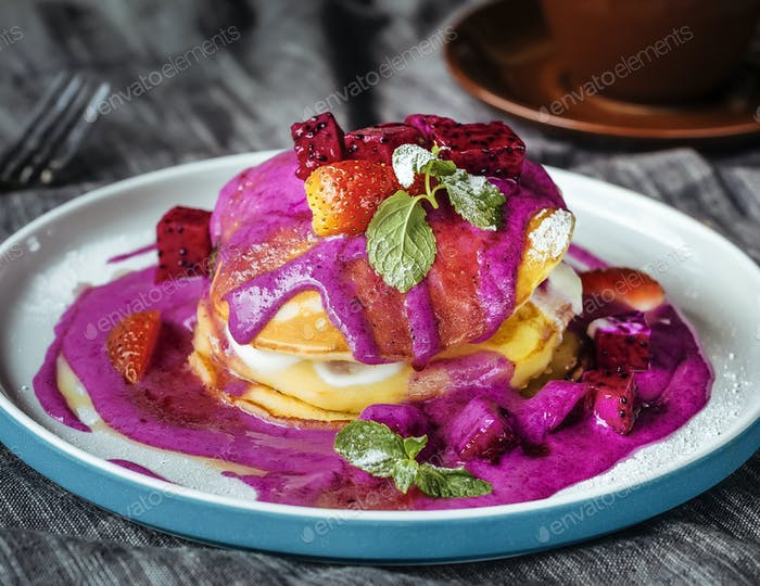 Tasty pancakes with dragon fruit