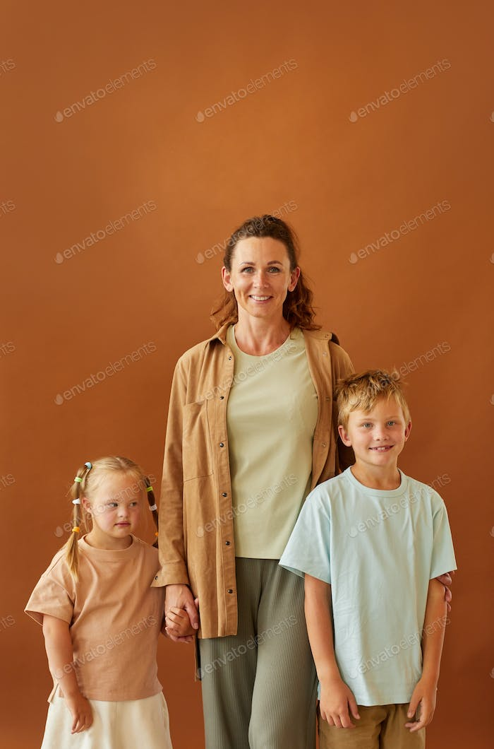 Mother with Two Children in Studio