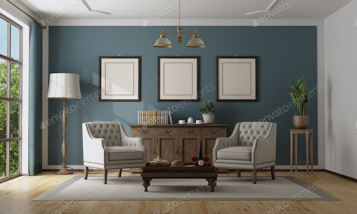 Blue classic interior with elegant furniture