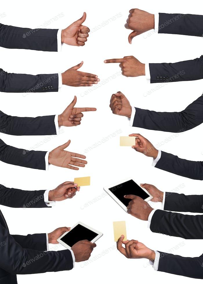 Schwarze männliche Hände halten Gegenstände und zeigt Symbole.