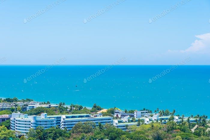 Beautiful landscape and cityscape of hua hin nearly sea beach an
