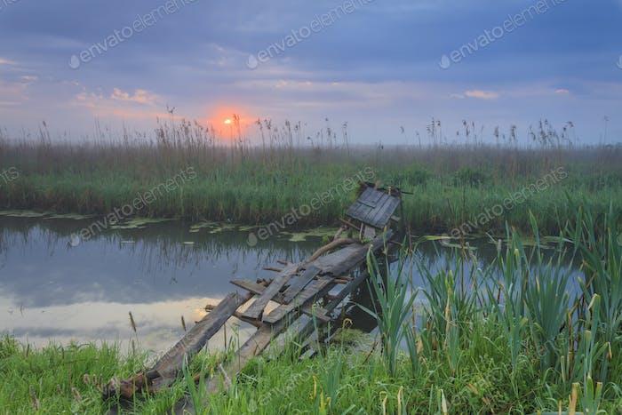 Foggy dawn on the river