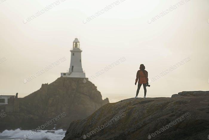 Traveler at La Corbiere Lighthouse