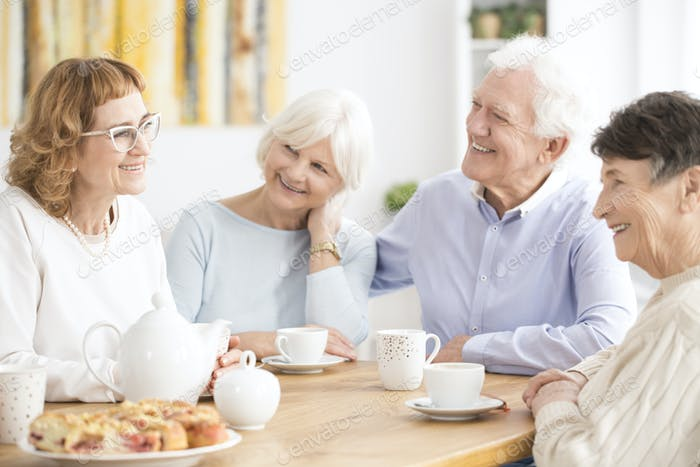 Senior people drinking tea