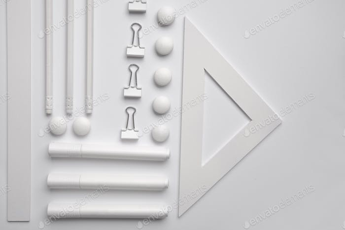 Office supplies on the white background