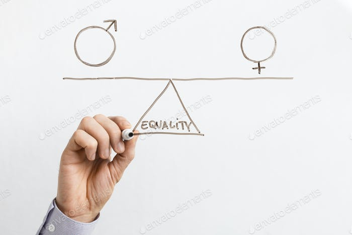 Equality between men and women on glass board