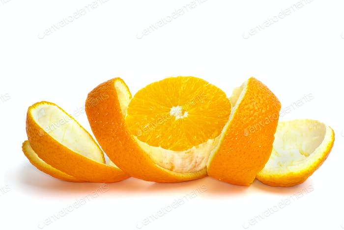 Orange slice over the some peel