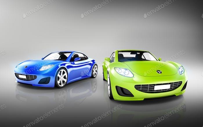 Две элегантные разноцветные современные автомобили