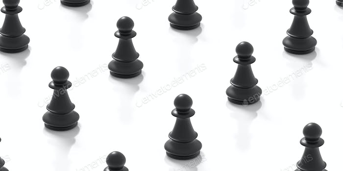 Social distance concept. Black chess pawns on white background. 3d illustration