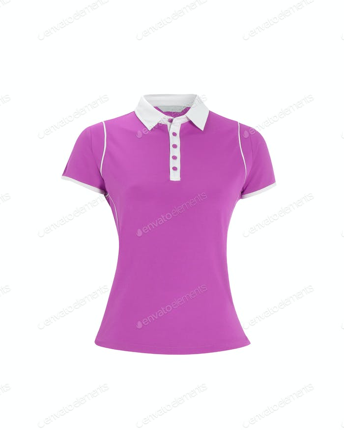 Purple polo t-shirt on white background