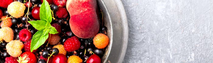 Banner of Mix fruit and berries in grey metal bowl
