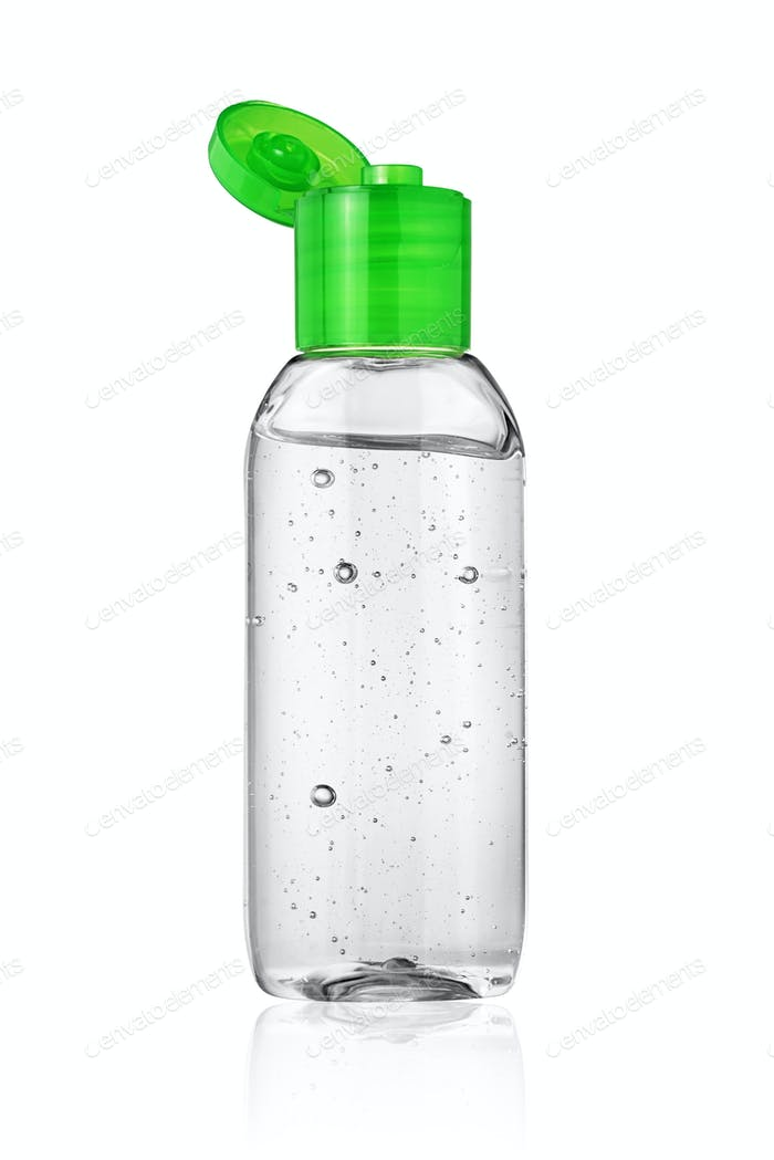 Open bottle of hand sanitizer or antiseptic gel isolated on white