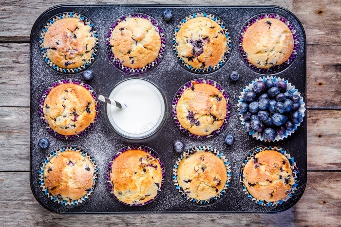 homemade blueberry muffins with milk and berries