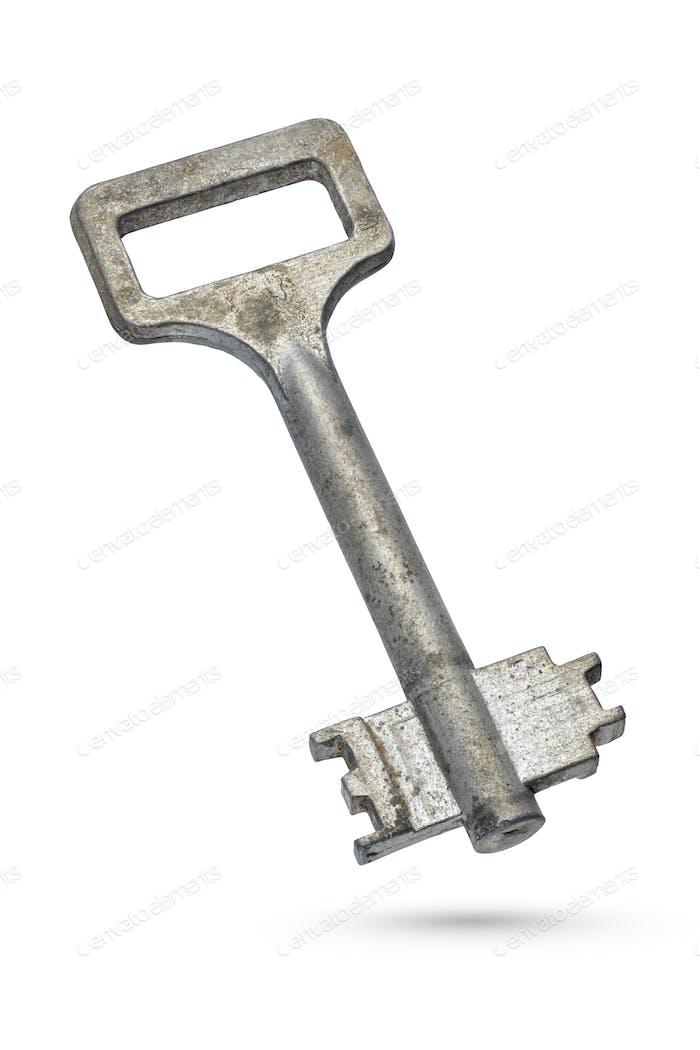 Old rusty key isolated on white background
