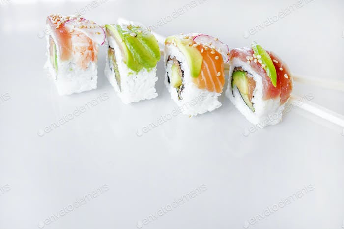 Delicious variety of sushi california rolls