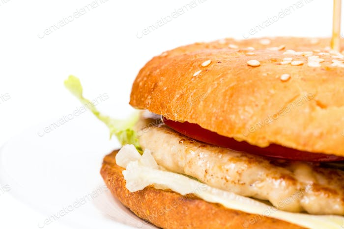 Closeup of chicken burger.