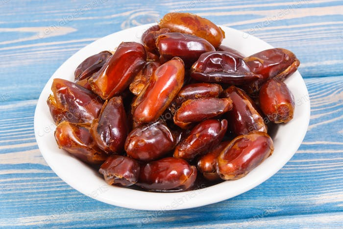 Dates containing natural vitamins and dietary fiber, healthy nutrition concept