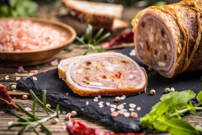 Stuffed pork meat
